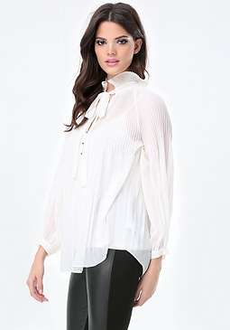 bebe Pleated Neck Shirt