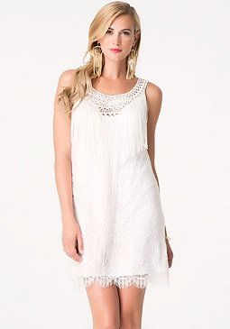 bebe Lace & Fringe Shift Dress