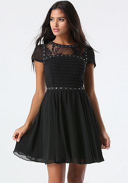 bebe Lace Yoke Flared Dress