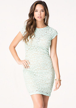 bebe Lace Plunge Neck Dress