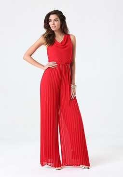 bebe Pleated Wide Leg Jumpsuit