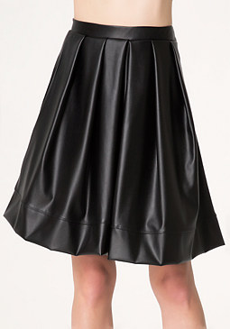bebe Faux Leather Pleated Skirt