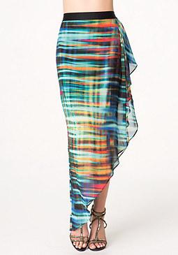 bebe Print Asymmetric Skirt