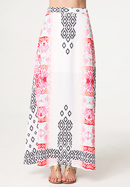 bebe Petite Woven Maxi Skirt