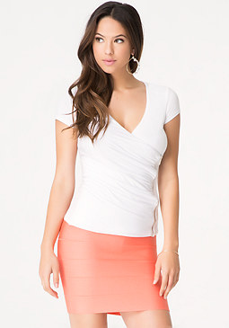 bebe Zip Front Surplice Top