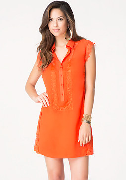 bebe Lace Trim Shirtdress