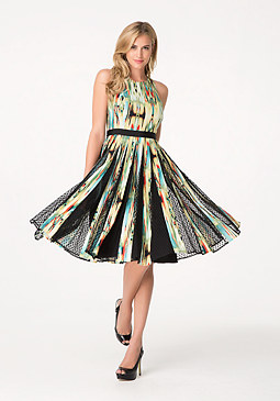 bebe Print Tulle Inset Dress