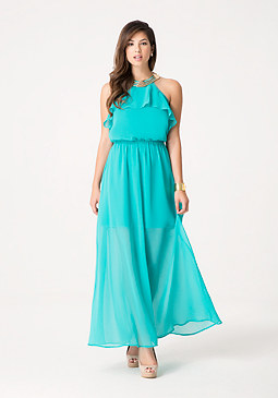 bebe Petite Neck Trim Maxi Dress