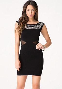 bebe Embellished Cutout Dress