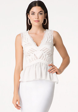 bebe Cutout Peplum Top