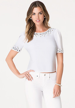 bebe Jeweled Crepe Top