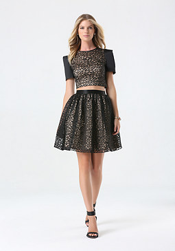bebe Applique Mesh Circle Skirt