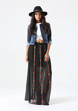 bebe Floral Stitch Maxi Skirt