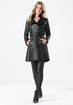 bebe Faux Leather Trench Coat