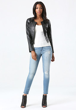 bebe Leather Grommet Jacket