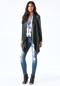 bebe Faux Leather Draped Jacket