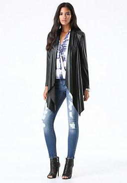 bebe Faux Leather Draped Jacket