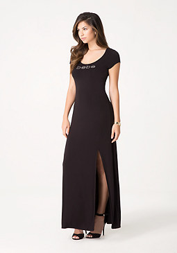 bebe Petite Lace Up Maxi Dress