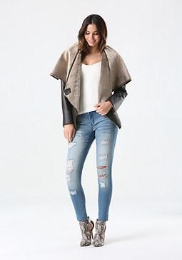 bebe Faux Fur Drape Front Jacket