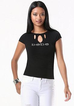 bebe Logo Peekaboo Sweater