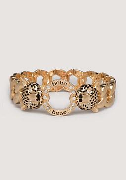 bebe Logo Panther Head Bracelet