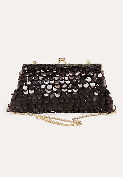 bebe Ruya Opaque Beaded Clutch