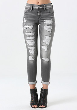 bebe Smoky Patch & Repair Jeans