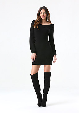 Marilyn Neck Sweater Dress at bebe