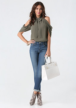 bebe Draped Cold Shoulder Top