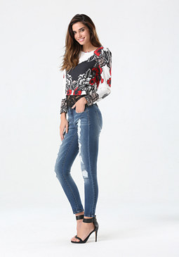 bebe Print Eyelash Lace Hem Top