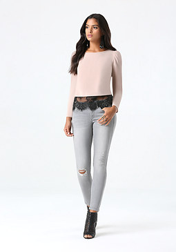 bebe Solid Eyelash Lace Hem Top
