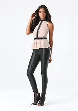 bebe Lace Trim Peplum Top