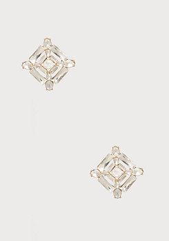 bebe Geo Crystal Stud Earrings