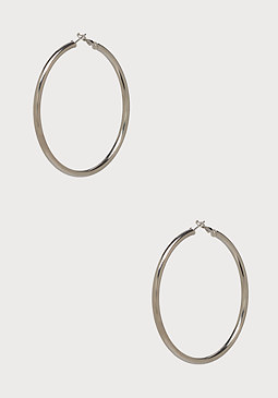 bebe Large Metal Hoop Earrings