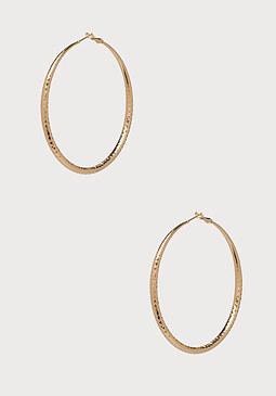 bebe Textured Hoop Earrings