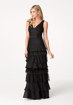 bebe Feather Lace Chiffon Gown