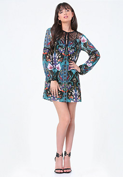 bebe Print Shift Dress