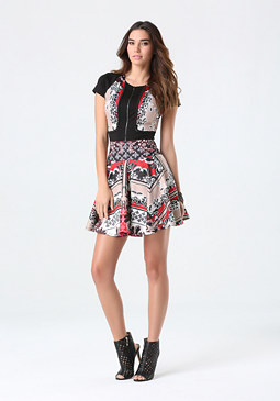 bebe Print Zip Front Scuba Dress