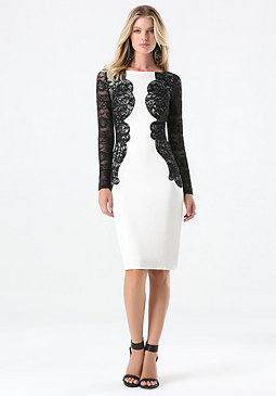 bebe Lace Detail Ponte Dress
