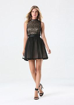 bebe Applique Mesh Dress