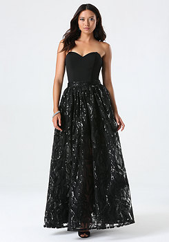 bebe Strapless Embroidered Gown