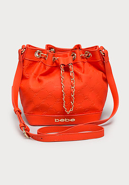 bebe Kelly Debossed Bucket Bag