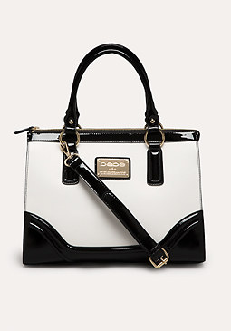 bebe Patent Trim Colorblock Tote