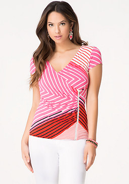 bebe Print Zip Up Surplice Top