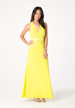 bebe Petite Crepe & Lace Gown