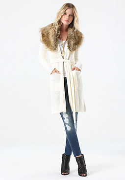 bebe Faux Fur Trim Sweater Coat