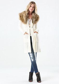 bebe Faux Fur Trim Sweater Coat