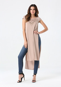 bebe Solid High Slit Tunic