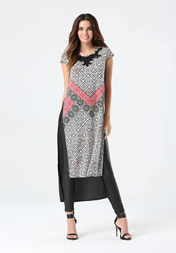 bebe Print High Slit Tunic