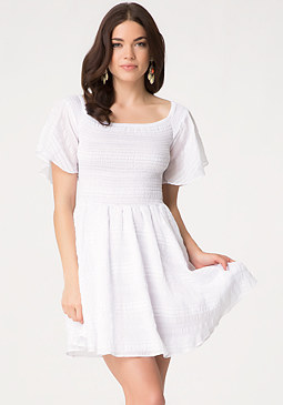 Petite Smock Babydoll Dress at bebe